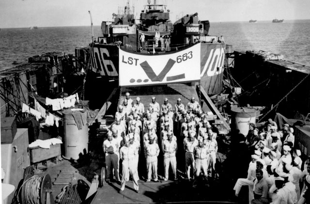 1909th Engineers Aviation Battalion (Negro) aboard LST 683.  August 15, 1945. 80-G-337464.