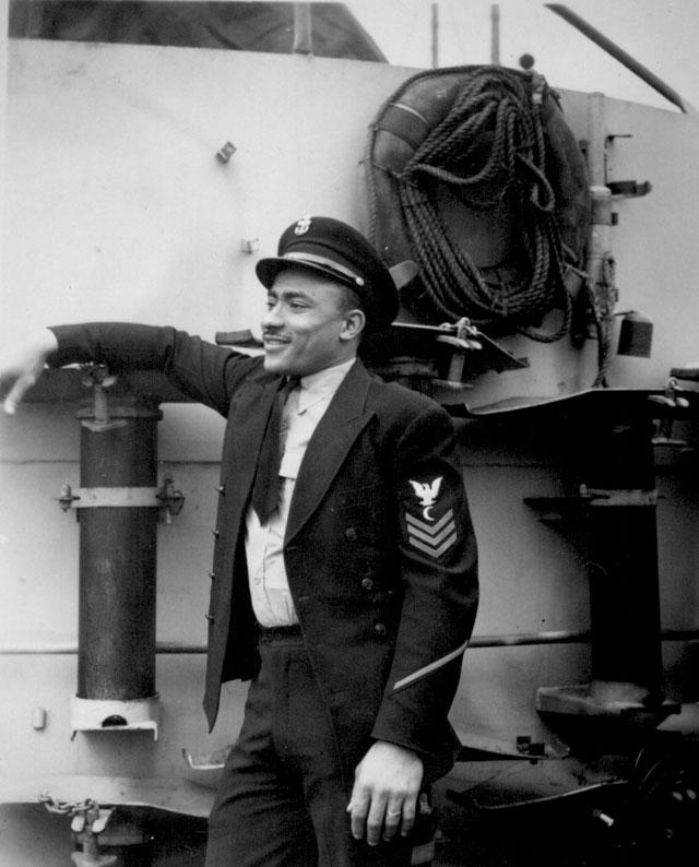 His crew sank a German submarine. U.S.S. Otter (DE 210). Ca. March 1945. 208-NP-7HHH-1