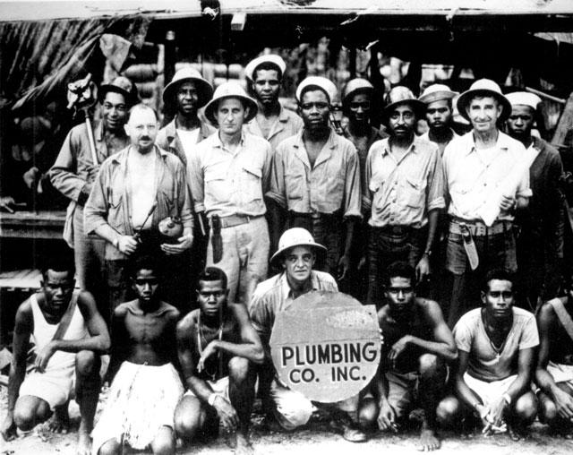 Halavo Seaplane Base, Florida Island, Solomons, plumbing department personnel. The entire front row except the CPO are natives  N.d. 71-SB-28-3