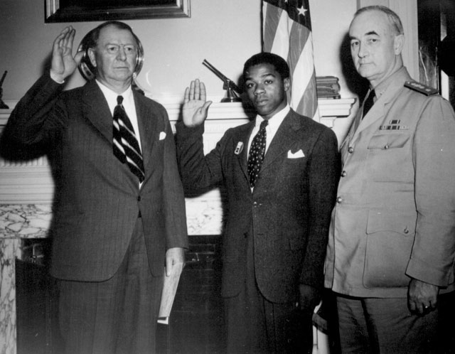 William Baldwin, first Navy Negro recruit for General Service. June 2, 1942. 208-NP-8B-2.