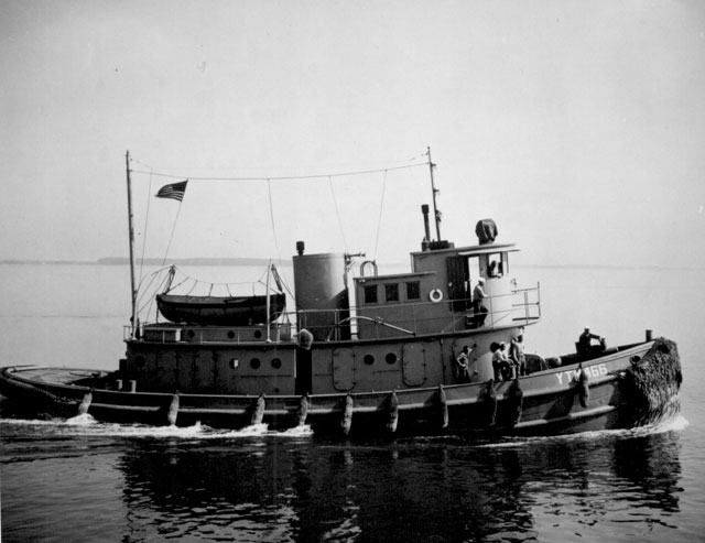 [The] tug YTM 466, operating out of the Mine Warfare School, Yorktown, VA. Her captain is T. Perdue, Boatswain Mate 1/c  May 17, 1945. 208-NP-7QQ-4.