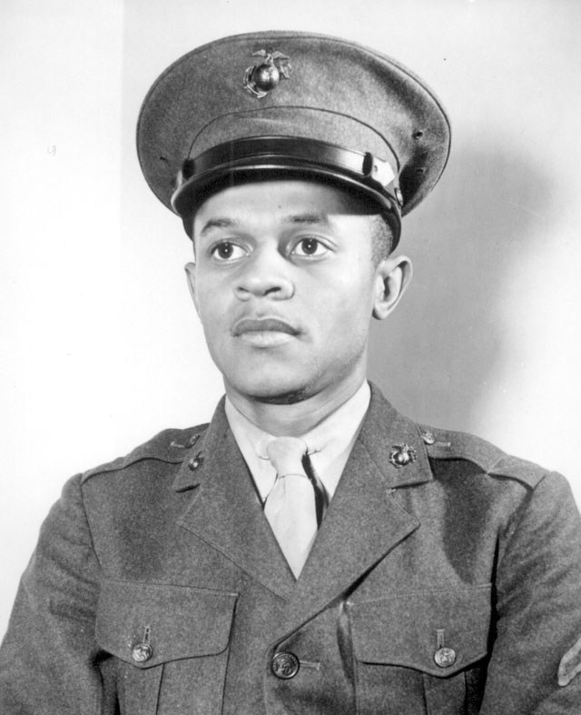 Breaking a tradition of 167 years, the U.S. Marine Corps started enlisting Negroes on June 1, 1942. The first class of 1,200 Negro volunteers began their training 3 months later as members of the 51st Composite Defense Battalion at Montford Point, a section of the 200-square-mile Marine Base, Camp Lejeune, at New River, NC. The first Negro to enlist was Howard P. Perry shown here. N.d. Roger Smith. 208-NP-10KK-1.