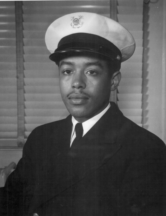 Reginald Brandon recently completed the eight-month course in Radio Operations and Maintenance at Gallup's Island [MA] Radio Training School of the Maritime Commission. He is the first Negro graduate of the school. Upon assignment he will have the rank of ensign. N.d. Roger Smith. 208-NP-5P-1.