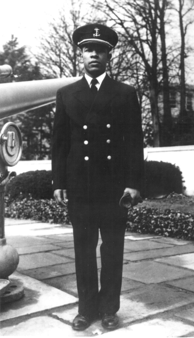 Ens. Joseph Banks Williams first Negro to graduate from the U.S. Merchant Marine Cadet Corps, has been assigned to active duty on the S.S. Booker T. Washington N.d. 208-NP-5R-1