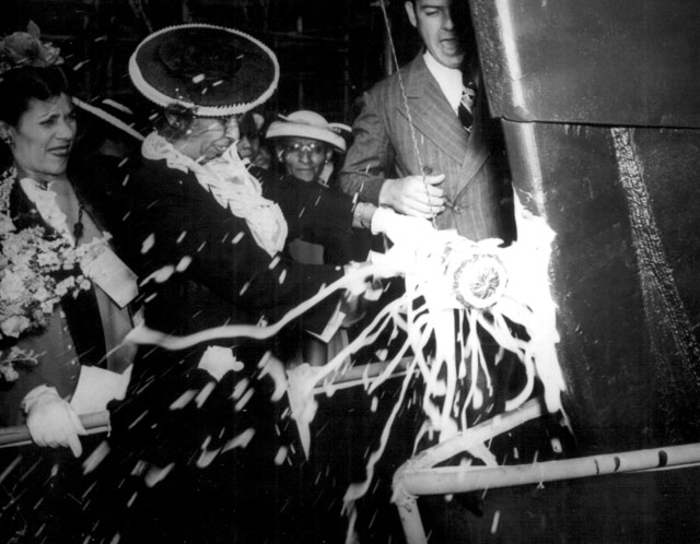 The launching party for the SS Harriet Tubman. June 3, 1944.Guy Nicholas. 208-NP-5E-3.