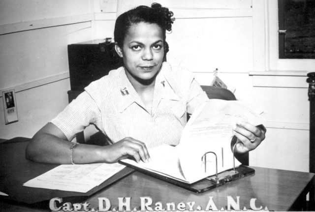Capt. Della H. Raney, Army Nurse Corps, who now heads the nursing staff at the station hospital at Camp Beale, CA, has the distinction of being the first Negro nurse to report to duty in the present war  April 11, 1945. 208-PU-161K-1.