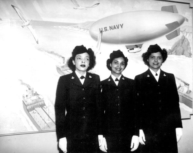 Hospital Apprentices second class Ruth C. Isaacs, Katherine Horton and Inez Patterson (left to right) are the first Negro WAVES to enter the Hospital Corps School at National Naval Medical Center, Bethesda, MD. March 2, 1945.  80-G-126506.
