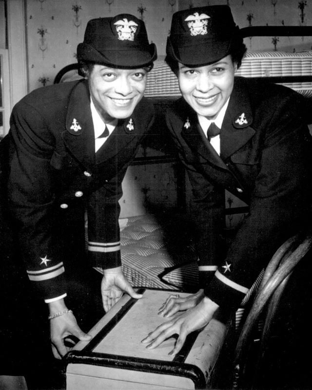 Lt.(jg.) Harriet Ida Pickens and Ens. Frances Wills, first Negro Waves to be commissioned. They were members  of the final graduating class at Naval Reserve Midshipmen's School (WR) Northampton, MA. December 21, 1944. Cropped view. 80-G-297441.