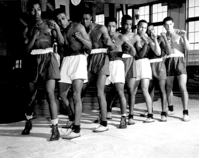Negro boxing champions at Great Lakes, IL. U.S. Naval Training Station. March 3, 1943. 80-G-29485.