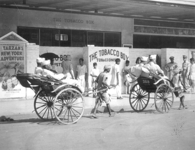 Rickshaws are almost as common in India as they are in China. Some of the troops are on their way to see 'Tarzan's New York Adventure'--in India  July 1943. 208-AA-45HH-1.