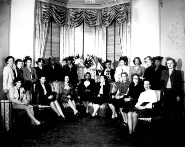The National Council of Negro Women entertained British war workers representing labor unions and American  labor women just returned from an eight-week tour of Great Britain  April 21, 1945.  208-NP-3AA-1.