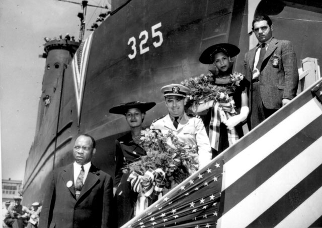 LSM Vessel No. 325 launching party. Mrs. Lula Martin, Chicago, IL, second from the left, was the sponsor.  August 25, 1944. 19-N-7058.