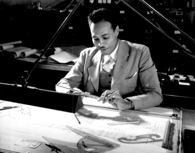 This highly experienced Negro draftsman is one of many skilled technical Negro workers employed in speeding  war production at a large eastern arsenal. May 1942. Howard Liberman.  208-NP-2HH-1.