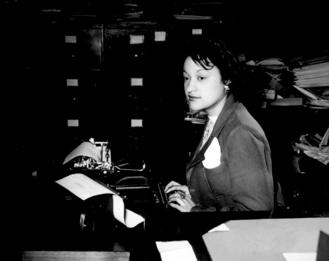Miss Clara Camille Carroll, contributes her bit to the war effort in her daily work. She is one of the thousands of  Negro girls now filling clerical positions in the Nation's Capital. January 15, 1943.  Roger Smith. 208-NP-3F-3.