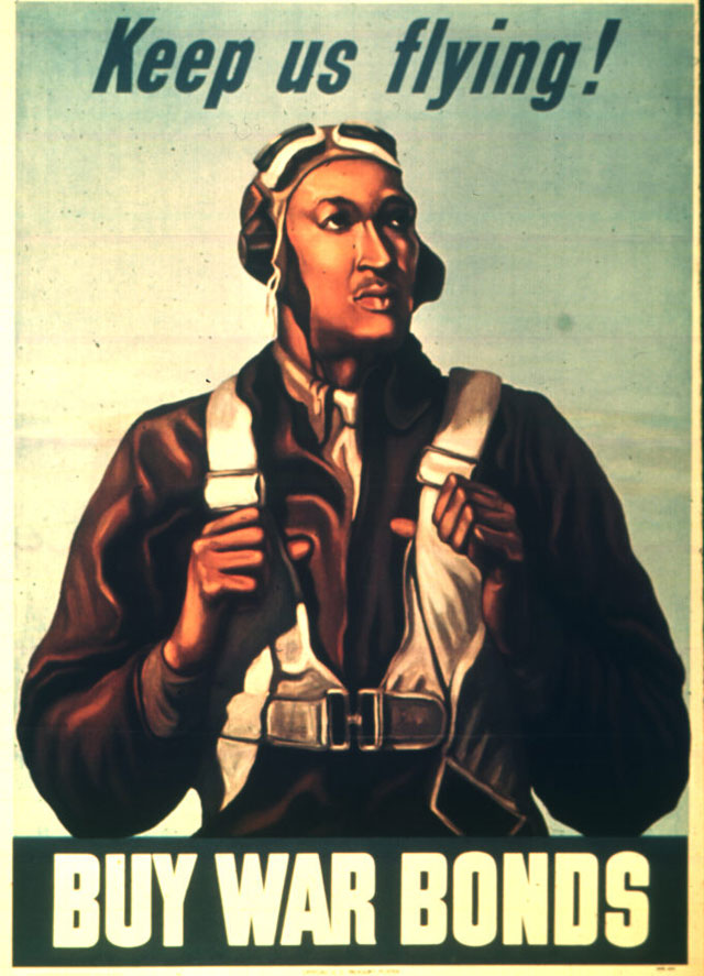 Keep us flying. Buy War Bonds. Color poster of a Tuskegee Airman (probably Lt. Robert W. Diez) by an  unidentified artist. 1943. 44-PA-1217.
