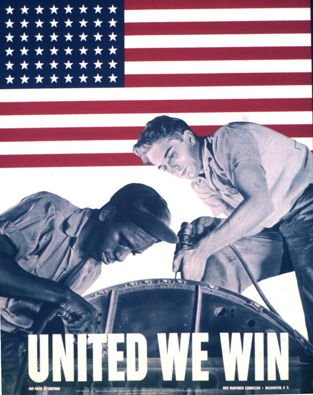 United We Win. Color poster featuring a photograph by Howard Liberman of integrated aircraft factory workers.  1943. 44-PA-370.