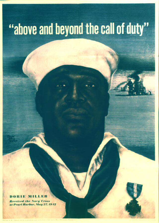 Above and Beyond the Call of Duty. Color poster of Doris (Dorie) Miller by David Stone Martin. 1943. 208-PMP-68.